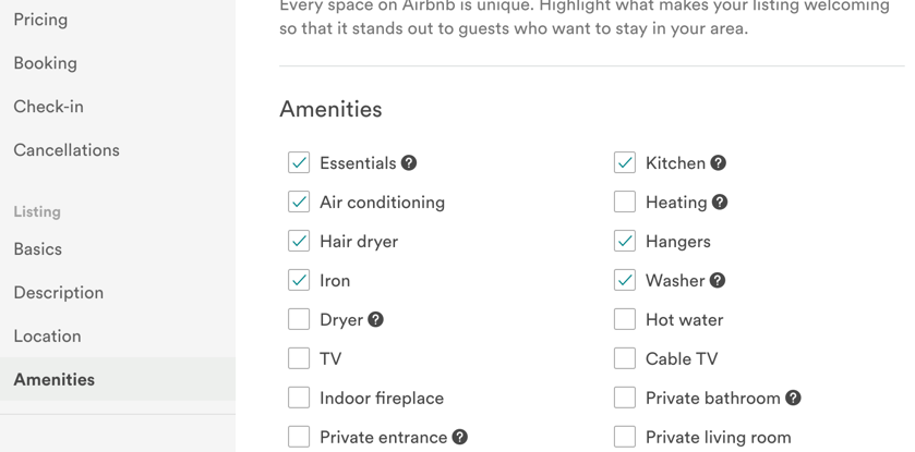 Airbnb Amenities